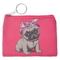 Clayre & Eef Růžová peněženka s pejskem- 11*9 cm