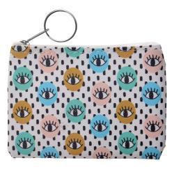 Clayre & Eef Barevná peněženka s motivem očí.  11*9  cm