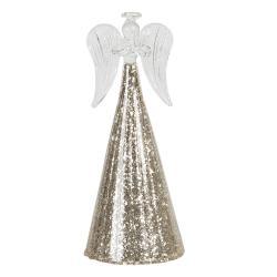 Clayre & Eef Dekorační skleněný anděl s třpytivým podstavcem Léonne – Ø 8*18 cm