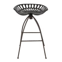 Clayre & Eef Hnědá kovová barová židle v retro stylu Gysbert- 47*35*60/68 cm