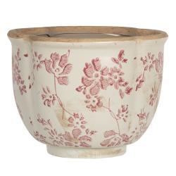 Clayre & Eef Retro obal na květináč s růžovými květy Mali - Ø 16*12 cm