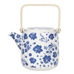 Clayre & Eef Porcelánová konvička na čaj s modrými květy I - 0,8L