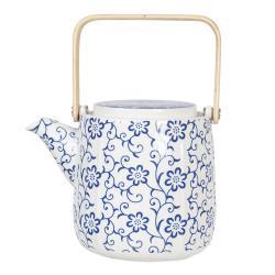 Clayre & Eef Porcelánová konvička na čaj s modrými květy - 0,8L
