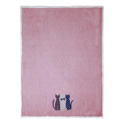 Clayre & Eef Růžový pléd s kočičkami Olli  - 130*160 cm