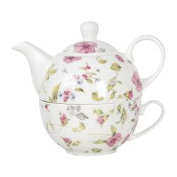 Clayre & Eef Porcelánová čajová sada pro jednoho Pre Fleuri - 0,4L