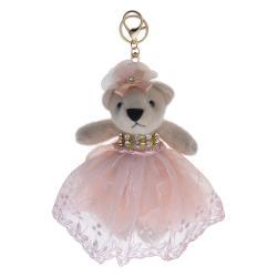 Clayre & Eef Plyšový medvídek v růžové tylové sukni na zavěšení - 20 cm