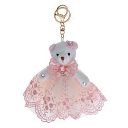 Clayre & Eef Bílý plyšový medvídek v růžové sukni na zavěšení - 15 cm