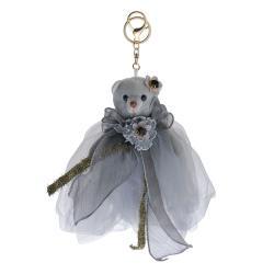 Clayre & Eef Šedý plyšový medvídek v tylové sukni na zavěšení - 20 cm