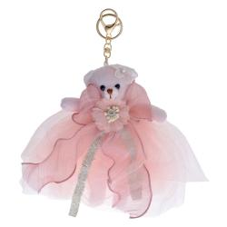 Clayre & Eef Plyšový růžový medvídek k zavěšení - 20 cm