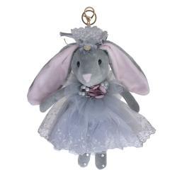 Clayre & Eef Šedý plyšový králíček na zavěšení - 30 cm
