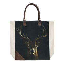 Mars & More  Bavlněno-kožený shopper s jelenem Black Deer - 40*44*12cm