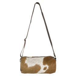 Mars & More  Kožená kabelka crossbody z hovězí kůže hnědá/bílá - 32*15*15cm