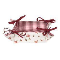 Clayre & Eef Bavlněný košík na pečivo Romantic Roses - 35*35*8 cm