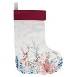 Clayre & Eef Textilní vánoční punčocha Dearly Christmas  - 30*40 cm