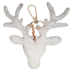 Mars & More  Šedý kožený přívěsek na klíče v designu jelena - 11*10*2,5cm
