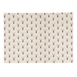 Clayre & Eef Béžové prostírání s jeleny Cosy Lodge - 48*33 cm - sada 6ks