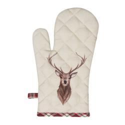 Clayre & Eef Béžová chňapka s jelenem Cosy Lodge - 16*30 cm