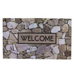 Clayre & Eef Velká rohožka před dveře s potiskem kamenů Welcome - 75*45 cm