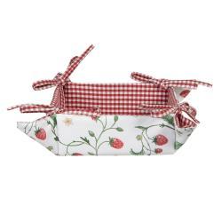 Clayre & Eef Bavlněný košík na pečivo Wild Strawberries - 35*35*8 cm