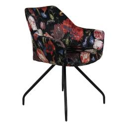 Clayre & Eef Černé textilní křeslo s květinovým potiskem Parterre - 55*58*82 cm