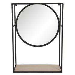 Clayre & Eef Zrcadlo v černém kovovém rámu s dřevěnou policí - 36*15*50 cm