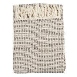 Clayre & Eef Vzorovaný bavlněný pléd s třásněmi Vérifié - 125*150 cm