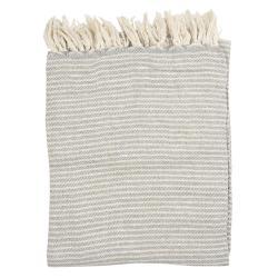 Clayre & Eef Béžovo -  šedý bavlněný pléd se zlatou nitkou a třásněmi - 125*150 cm