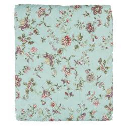 Clayre & Eef Tyrkysový přehoz na dvoulůžkové postele s květy Flowers - 240*260 cm