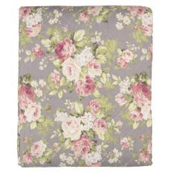 Clayre & Eef Taupe přehoz na jednolůžkové postele s růžemi Roses - 140*220 cm