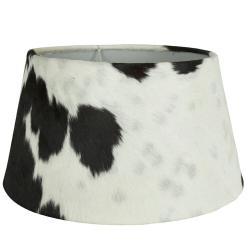 Mars & More  Bílo-černé stínidlo na lampu z kravské kůže Taurus - 50*40*26cm