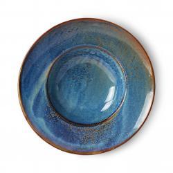HKLIVING Rustikálně modrý keramický talíř na těstoviny Pasta Chef - Ø 28,5*6cm