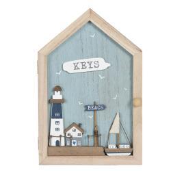Clayre & Eef Dřevěná skříňka na klíče Beach keys - 18*6*28 cm