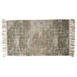 Clayre & Eef Vintage bavlněný koberec s květinovými motivy a třásněmi- 70*120 cm