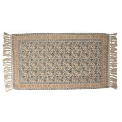 Clayre & Eef Bavlněný koberec s květinovými ornamenty a třásněmi - 70*120 cm