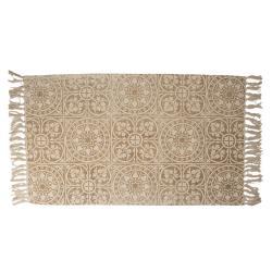 Clayre & Eef Béžový bavlněný koberec s ornamenty a třásněmi - 70*120 cm