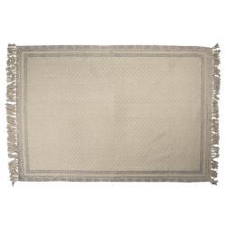 Clayre & Eef Béžovo-šedý bavlněný koberec s ornamenty a třásněmi - 140*200 cm