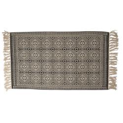 Clayre & Eef Béžovo-černý koberec s ornamenty a třásněmi - 70*120 cm