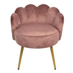 Clayre & Eef Sametové křeslo v designu mušle v růžové barvě Saumon - 55*53*61 cm