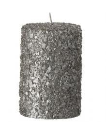J-Line by Jolipa Stříbrná svíčka válec v celofánu - Ø 7*10 cm/28h