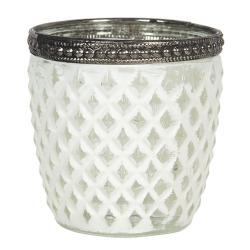 Clayre & Eef Skleněný svícen s bílou patinou Satin - Ø 7*7 cm
