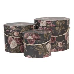 Clayre & Eef Sada 3ks černých papírových krabic s květy -  Ø 23*19 / Ø 20*17 / Ø 17*14 cm