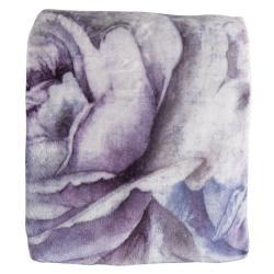 Clayre & Eef Světlý plyšový pléd s květy Fion - 130*180 cm