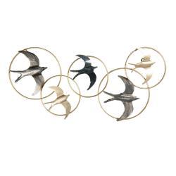 Clayre & Eef Kovová nástěnná dekorace s ptáky ve zlatých kruzích - 84*3*42 cm