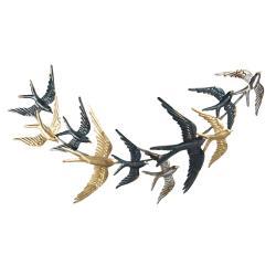 Clayre & Eef Nástěnná kovová dekorace s ptáky - 79*4*42 cm
