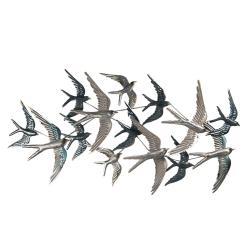 Clayre & Eef Nástěnná kovová dekorace Hejno letících ptáků - 87*4*45 cm