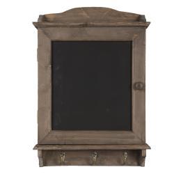 Clayre & Eef Hnědá dřevěná skříňka na klíče s křídovou tabulkou - 34*8*47 cm