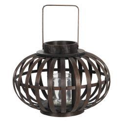 Clayre & Eef Závěsná dřevěná lucerna Eudo - Ø 34*23 cm