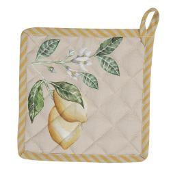 Clayre & Eef Bavlněná podložka pod hrnec s motivem citrónů Lemons & Leafs - 20*20 cm