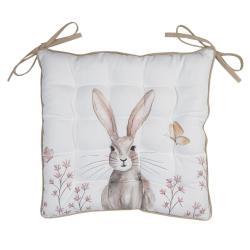 Clayre & Eef Bavlněný podsedák s výplní s motivem králíka Rustic Easter Bunny - 40*40 cm