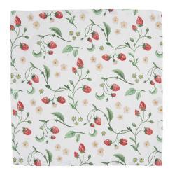 Clayre & Eef Set 6 bavlněných ubrousků s motivem lesních jahod Wild Strawberries - 40*40 cm
